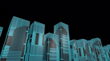 ワイヤフレーム : LED skyscrapers scrolling graphics buildings city 4k 動画素材