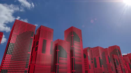 new town : LED skyscrapers scrolling graphics buildings city 4k Stock Footage