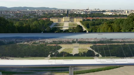 schonbrunn : Aerial view of Schonbrunn palace with panoramic picture of Vienna Stock Footage