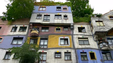 expressionism : Bizarre architecture of Hundertwasser house Stock Footage
