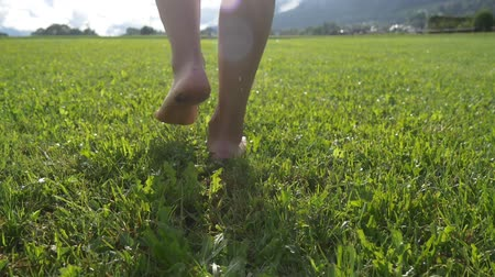 caminhada : Woman walks on green lawn on a sunny summer day