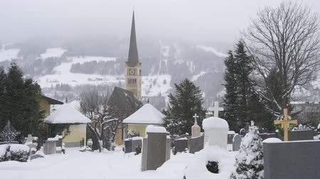 churchyard : Cemetery in the Austrian town in winter