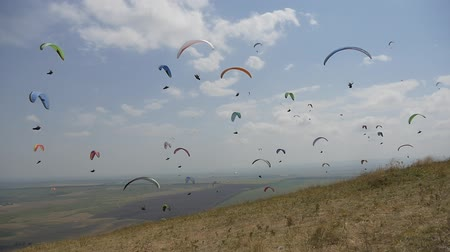 Many paragliders are flying near the mountainside Стоковые видеозаписи