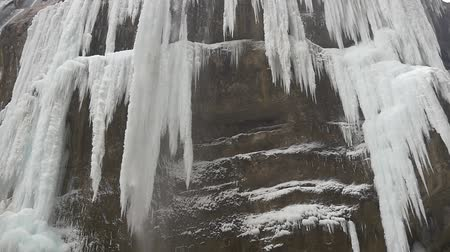 sincelo : Cascade of waterfall in winter with icicles Stock Footage