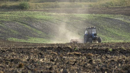 furrow : Preparation for sowing works Stock Footage