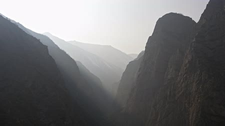 heaven and hell : Dark terrible gorge of unknown mountains