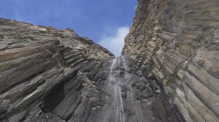 rock wall : Waterfall in the dolomite mountains