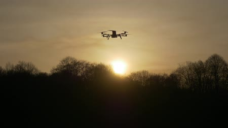 old radio : Dron at sunset in the rays of the setting sun