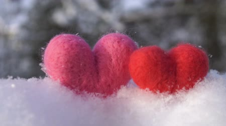 peluş : Two Valentines woolen hearts on the clear white snow in winter slow motion Stok Video