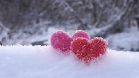 Two Valentines woolen hearts on white snow on the river shore in winter