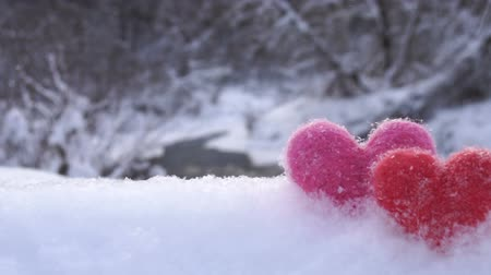 peluş : Red and pink woolen hearts on white snow on the river shore in winter
