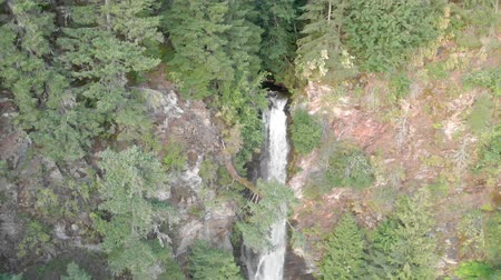 ingiliz columbia : Aerial down of Rainbow Falls waterfall, Harrison Stok Video