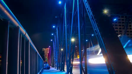 oŚwietlenie : The iron bridge landmark of Chiang Mai Thailand time-lapse  with colorful of LED light.