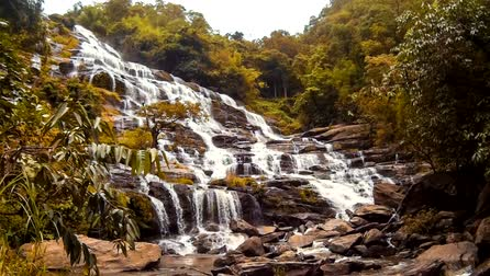nemzeti : HD Time Lapse Maeya waterfall in Chiang Mai Thailand with wide range of waterfall and rock