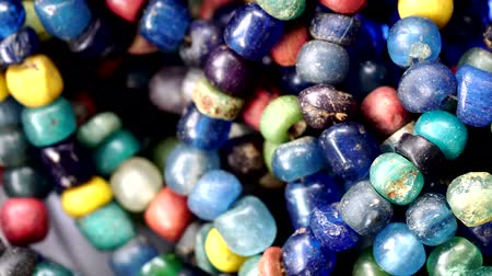 pingente : Close up of Ancient rare colorful Tradewind glass Beads