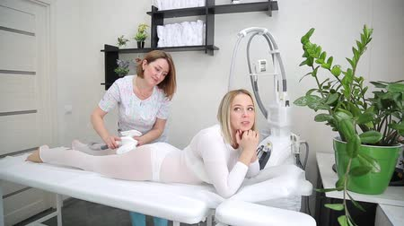 Charming young blonde at a massage LPG session.