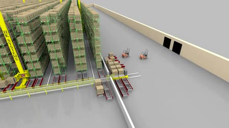 paket : Warehouse interior 3d loopable animation. Camera is moving forward.