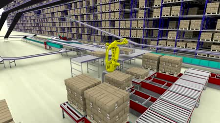 pallette : Warehouse interior 3d loopable animation. Camera is moving forward.