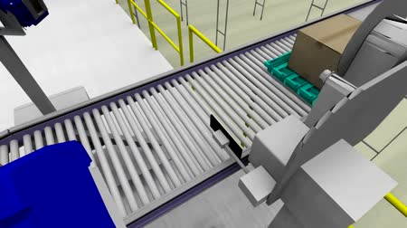 stockpile : Warehouse interior 3d loopable animation. Camera is moving forward.