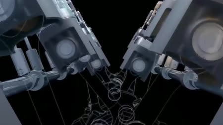 irony : 3D animation of a flare effect. Pistons, camshaft. Stock Footage