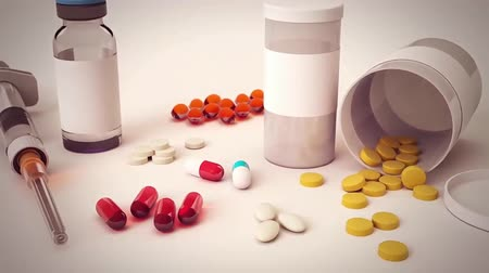 cura : Close up with pills rotating Stock Footage