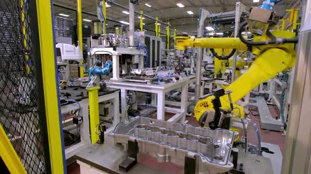 irony : Robotic Arm production lines Stock Footage