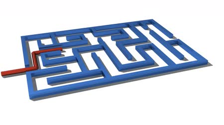 wall building feature : Simple Maze Being solved Stock Footage