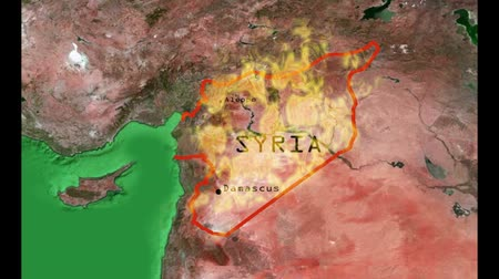 savaş : This is a clip representing the difficulties of Syrian civil war. It is a zoom on a map of middle East and Syria in particular inflamed by the civil war