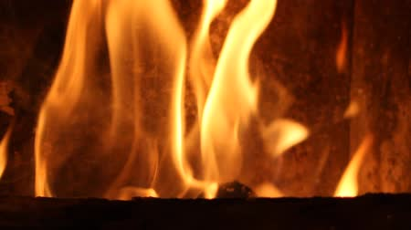alevler : Flames in fireplace Stok Video