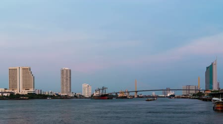 docklands : Time lapse river of Bangkok Thailand. Tidal Chowpraya river. Stock Footage