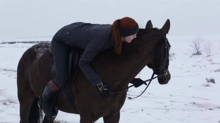 caresses : A young woman caresses her horse, slow motion Stock Footage