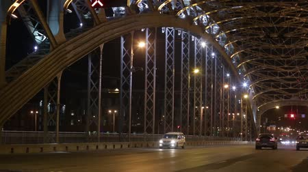 sto : ST. PETERSBURG, RUSSIA - CIRCA APRIL, 2018: Vehicles drive on the Peter the Great (Bolsheokhtinsky) Bridge