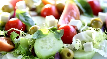 salad : Mediterranean salad with fresh and healthy ingredients Stock Footage