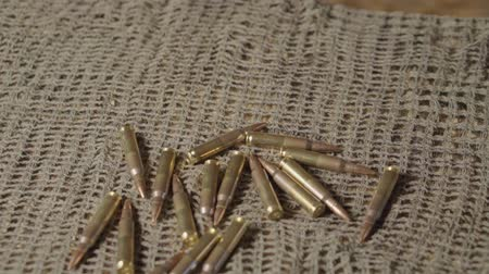 direitos : A lot of cartridges for a carbine on a camouflage sniper mesh
