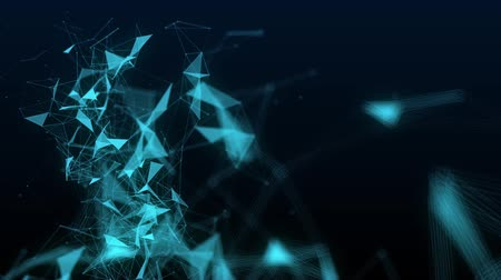 block chain : Abstract futuristic illustration of polygonal surface with connecting dots on black background. Neural mesh representing internet connections, cloud computing and blockchain distributed network