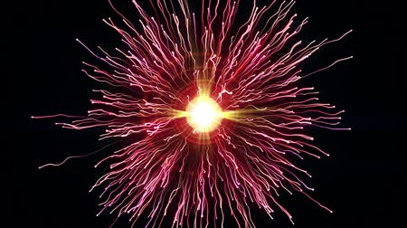 clash : Particle collision and explosion. Bright pink particles with streams collide and create explosion shockwave with trails. Spherical multicolored explosion with flares isolated on black background. 4K