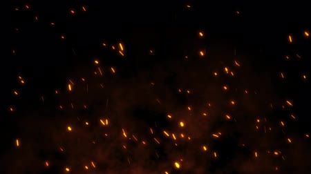 элементы : Burning red hot sparks rise from large fire in the night sky. Beautiful abstract background on the theme of fire, light and life. Fiery orange glowing flying particles over black background in 4k
