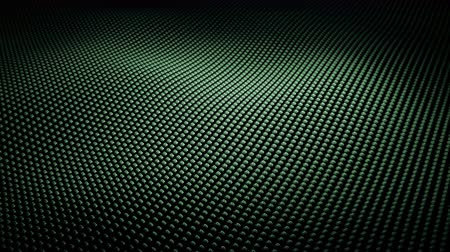 estilizado : Modern abstract loopable chrome surface wave. Metal grid of green shiny metal spheres moving slowly. Futuristic technology concept seamless 3D animation. Stylized Hi-Tech backdrop with Field of View Stock Footage