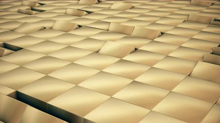 estilizado : Modern abstract chrome gold surface loopable rotate wave. Metal grid of bright golden reflective cubes. Futuristic technology concept 3D seamless animation. Stylized Hi-Tech voxel backdrop