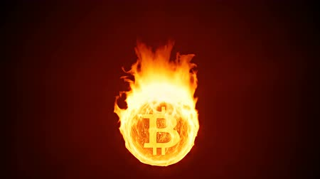 bearish : Bitcoin cryptocurrency burning in fire. Gold coin burns down. Red bearish market decline, crash and blockchain bubble. Crypto capitalization in flames concept 3D animation with alpha matte channel. 4K