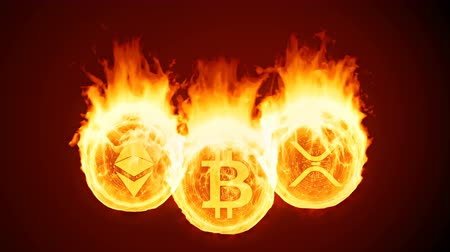bearish : Bitcoin, ethereum and ripple burning in fire. Gold coins burn down. Red market decline, crash and blockchain bubble. Crypto capitalization in flames concept 3D animation with alpha matte channel. 4K
