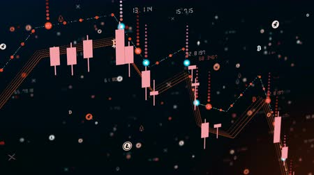 bearish : Futuristic digital business cryptocurrency candle chart fall. 3D animation of financial diagram falls on bearish market, showing recession or financial crisis. Econimics concept with Alpha channel Stock Footage