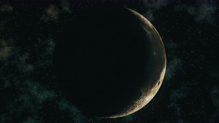 lunar surface : Realistic seamless 3D animation of moon phases. High quality moon wax and wane through all lunar cycles: New moon, crescent, half, gibbous and full moon in loop. Space concept of Earth satellite in 4k