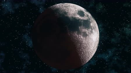 hilâl : Realistic seamless 3D animation of full lunar eclipse. Blood moon wax and wane through all lunar cycles: New moon, crescent, half, gibbous and full moon in loop. Earth satellite in 4k. Alpha matte