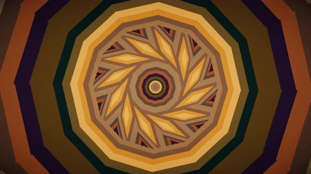 tekrarlama : Colorful warm brown kaleidoscope seamless 3D animation. Beautiful bright mandala fractal ornament for yoga, clubs, shows. Zoom in geometric patterns with circles, rectangles design loop. 4K Ultra HD