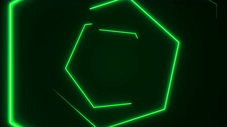 hexagon glow : Futuristic HUD hexagon tunnel seamless VJ loop. 4K Neon motion graphics for LED, TV, music, show, concerts. Bright retro cosmic night club 3D animation with data flow concept for speed and connection Stock Footage