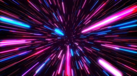 hyperspace : Hyperspace jump through the stars to a distant space seamless loop. Speed of light, neon glowing rays in motion. Lightspeed space journey through time continuum. Warp journey in wormhole 3D animation