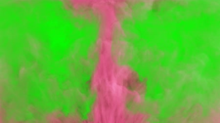 pigmento : Pink spreading colored smoke 3D animation. Abstract inky swirling colorful powder cloud for wipe transitions and overlay effects. Isolated paint fog explosion isolated on chroma key. Alpha channel