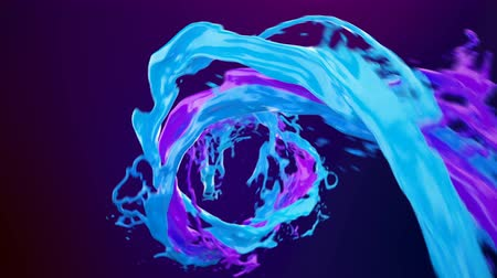 inkoust : Abstract bright colorful liquid vortex flow with splashes slow motion. Waving water surface close up motion with air bubbles isolated on dark blue background with alpha channel matte. 4k 3D animation