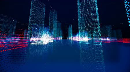 urban skyline : Futuristic matrix hologram city seamless loop. Digital blueprint of buildings with binary code particles 3D animation. Construction, growth, technology and connection concept with alpha channel matte Stock Footage